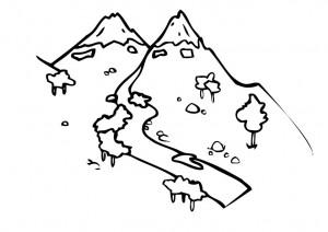 Monti e fiumi da colorare dei progetti formativi a scuola