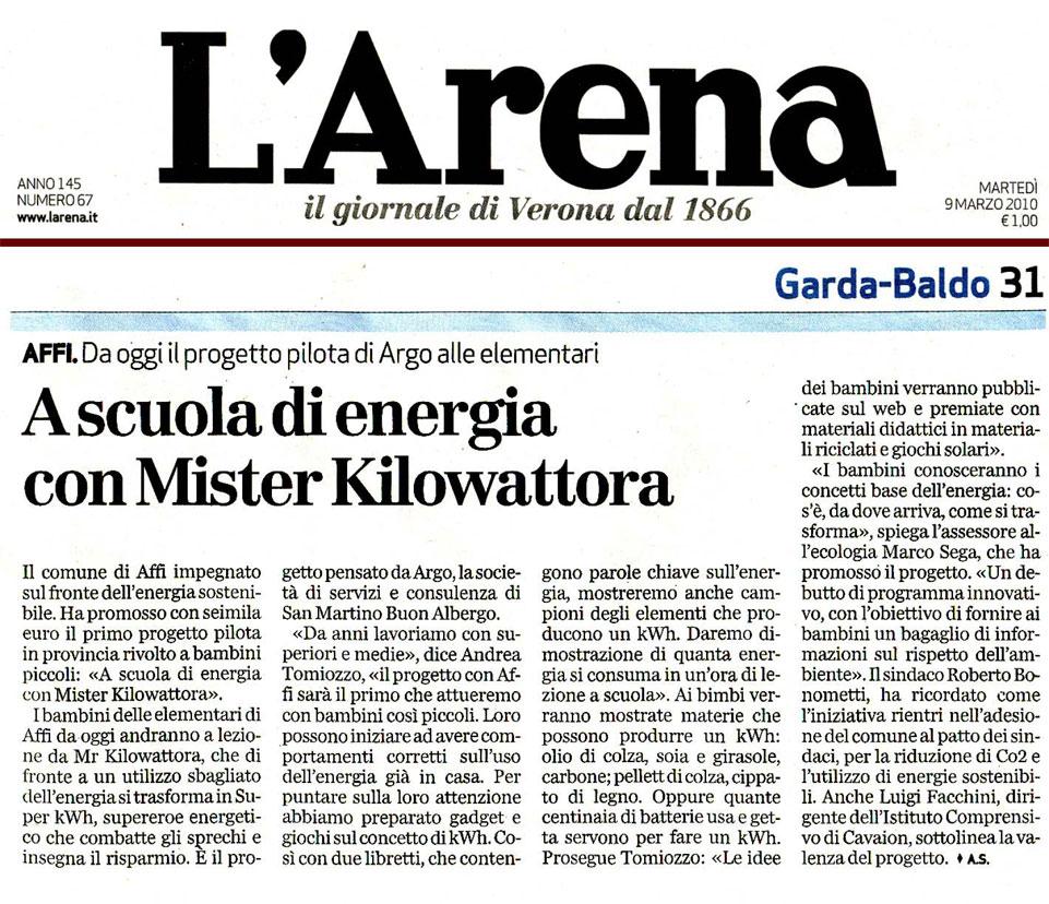 L'Arena - articolo del 9 marzo 2010