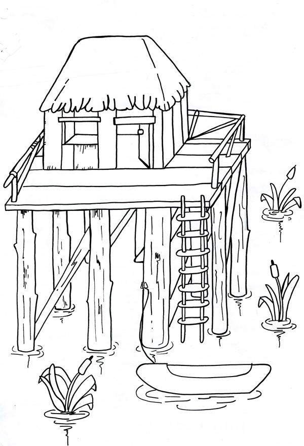 La palafitta in legno a scuola di energia con mr kilowattora for Casa immagini da colorare
