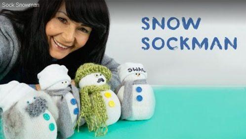 Tutorial video come costruire pupazzo di neve con calzino e riso
