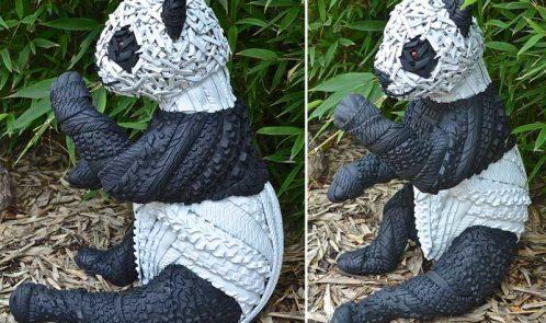 Scultura con pneumatici riciclati, panda